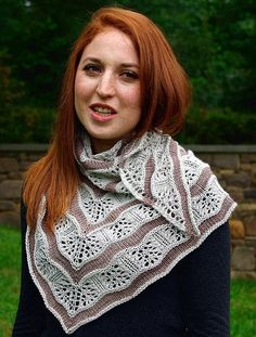 Knitting pattern for Yarden Lace Shawl. Yarden (pronounced yar-dén) is a lace and stockinette stitch shawl that gets its wavy lines from increases and decreases in the lace sections. Shawl Patterns, Knitting Patterns, Knitting Tutorials, Lace Knitting, Knit Crochet, Knitting Scarves, Finger Knitting, Knit Cowl, Crochet Granny