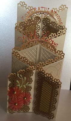 Congratulations zig zag card design made using Tattered Lace dies.