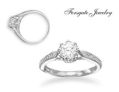 Sterling Silver Rhodium Plated Solitaire CZ by ForsgateJewelry