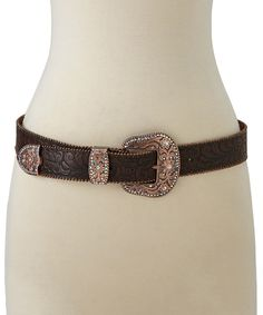 Look at this I Love Accessories Brown Embossed Western Buckle Leather Belt on #zulily today!