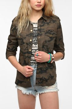 Staring At Stars Button-Down Camo Shirt  #UrbanOutfitters