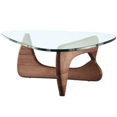 Noguchi Style Triangular Coffee Table in Walnut