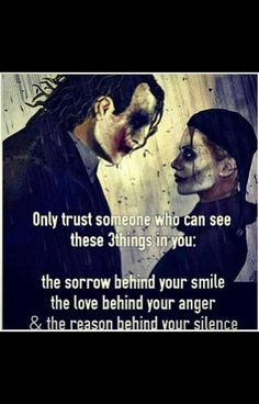 Joker and Harley Quinn quote. One of the reason I only trust like two people in life..