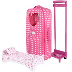 Doll Travel Carrier Trolley With Foldable Bed and Accessories Fits American Girl Dolls, My Life Doll, Our Generation and other 18 inches Dolls