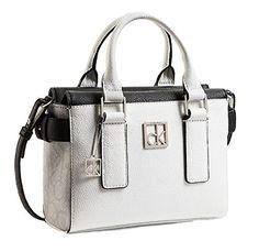 Calvin Klein Cassidy Logo Studio Satchel Crossbody Bag Handbag (White/Grey) * Check out this great product.