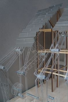 Architecture. Model of Interactive 'dancing' façade mechanism