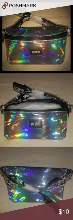 "Victoria's Secret Pink fanny pack NWT bright and 📀shiny silver📀 ""fanny pack"" perfect for the gym!🏋️‍♀️🎶🎶 Carry your money and even your IPod/Smartphone with your favorite tunes🎶🎶 Keep your valuables safe while you're working on the most important thing....💖YOU💖 Great for hiking, biking, and even while shopping. 🎉Free gift with regular purchase 🎉🤗🤗 Victoria's Secret Pink Bags Mini Bags"