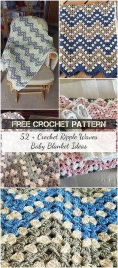 52 + Crochet Ripple Waves  Baby Blanket Ideas #crochet #freepatterns #crochetaddict