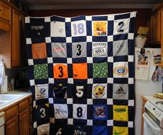 Soccer Jersey Quilt for both my boys Softball Jerseys, Sports Jerseys, Sports Shirts, Jersey Quilt, Baseball Mom, Baseball Quilt, Baseball Stuff, Hockey Mom, Soccer Gifts
