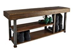 The bench top is crafted from reclaimed Douglas Fir wood engineered beams. The lower shelves are reclaimed old-growth redwood salvaged from house circa 1920. Both are finished with a proprietary Walnut Wax Finish. The legs are made of industrial steel cut off scraps. - Etymology Studio, Hawthorne Storage Bench