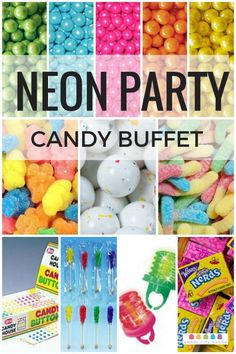 "Possible ideas for Sweet 16 ""Neon"" themed party Glow In Dark Party, Glow Party, Disco Party, Candy Party, Neon Birthday, 13th Birthday Parties, 11th Birthday, Birthday Ideas, Birthday Candy"