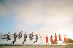 Jayme & Russ Eugene wedding & portrait photographers - Sunset Wedding Party Photos on Heceta Head Beach.: Colleen and Max are joined by their wedding party on the beach at Heceta Head as the sun begins to set during their August wedding. Then men are all wearing grey suits and Brown leather Shoes. The Bridal Party wore Orange Dresses, The Bride had a unique touch in that her shoes were pink Converse with a little photo attached of her Grandparents that had passed prior to the wedding. For…
