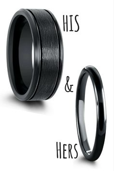His and her black wedding rings. His wedding ring is crafted out of black tungsten carbide and designed with a brushed finish. Hers is crafted out of black tungsten and designed with a high polish finish. I love these black matching wedding ring sets.