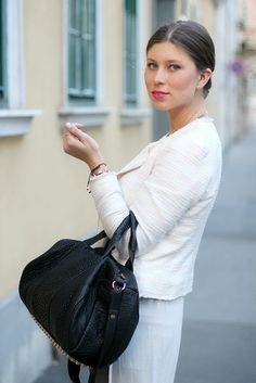 pink lips (MAC impassioned), hair tied back, light pink tweed jacket, alexander wang rocco bag with rose gold hardware