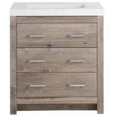 Glacier Bay Woodbrook 31 in. W x 19 in. D Bath Vanity in White Washed Oak with Cultured Marble Vanity Top in White with White Sink - The Home Depot Granite Vanity Tops, Marble Vanity Tops, White Vanity, White Sink, Marble Top, Carrara Marble, Wood Vanity, Bathroom Vanity Tops, Bath Vanities