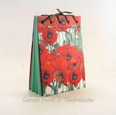 Bloc-notes 100 feuilles, couverture fleurie de coquelicots format pratique, 15cm X 10cm : Carnets, agendas par carnets-perles-et-fanfreluches
