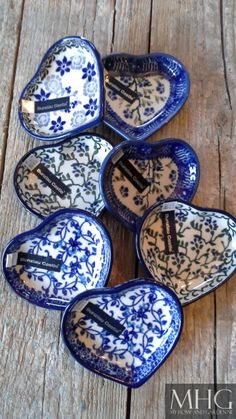 Polish Pottery~ Blue and white ceramic hearts Blue And White China, Blue China, Love Blue, My Favorite Color, My Favorite Things, Tadelakt, Blue Pottery, White Dishes, Himmelblau