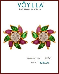 9cd8cbf9d Green, Pink & White Stones Studded Stud Earrings For Women