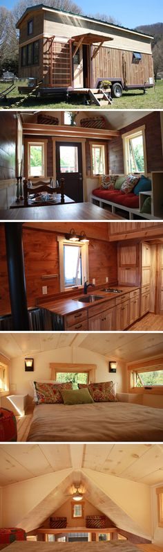 A 330 sq. tiny house on wheels custom built for personal fitness trainers. A 330 sq. tiny house on wheels custom built for personal fitness trainers. The Fitness Nest was featured on HGTV's Tiny House Big Living. Tiny House Big Living, Tiny House Plans, Tiny House On Wheels, Tyni House, Tiny House Movement, Small Places, Tiny Spaces, Tiny House Design, Little Houses