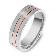 two tone white rose gold wedding ring i loveeeee rose gold but maybe have a silver band and something writing in rose gold on the inside - Gold And Silver Wedding Rings