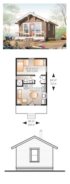 Tiny House Plan 76164 | Total Living Area: 384 sq. ft., 1 bedroom and 1 bathroom. #tinyhome