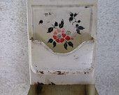 Painted Enamel Tin Matchbox Holder with Flowers Kitchen Kitsch