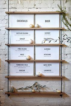 JH-minimalist blown up menu Resturant Menu, Restaurant Menu Design, Cafe Restaurant, Menu Signage, Menu Board Design, Shelving Design, Menu Boards, Environmental Graphics, Cafe Interior