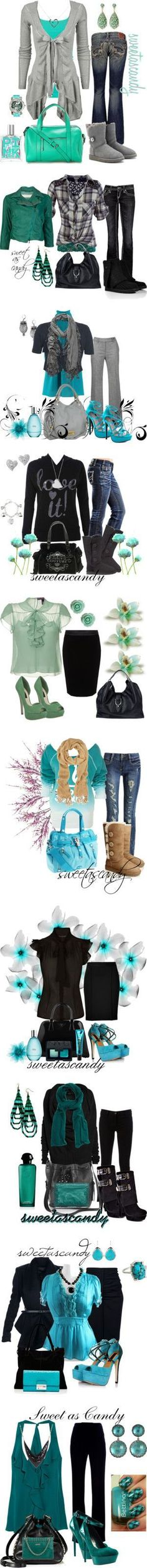 turquoise, gray and black by sweetlikecandycane on Polyvore