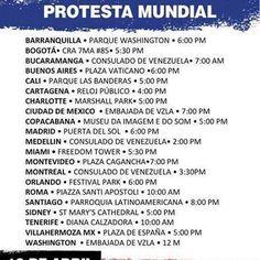 #Venezuela #19AVzlaEnLaCalle #ProtestaMundial #NoMasDictadura #Independencia #puntosdeReunión #BuenosAires #Miami #Montreal #Roma#Madrid #Montevideo #Ternerife #Sidney #Mexico #Santiago #Cali