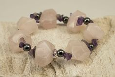 Chunky Rose Quartz (2*1,5 cm) and Amethyst (0,5 cm) with Hematite Bracelet, Natural Gems.  Length is approximately 7,25 inches which fits most wrist