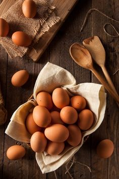 Raw Organic Brown Eggs by Brent Hofacker - Photo 100272099 - Farm Photography, Food Photography Styling, Food Styling, Eggs In A Basket, Egg Photo, Brown Eggs, Food Art, Nom Nom, Food And Drink