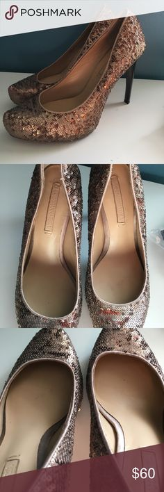 BGBGMAXAZRIA Bronze Sequin Pumps - Sz 9 Only worn once to an event!!!!! AWESOME condition BCBGMaxAzria Shoes Heels