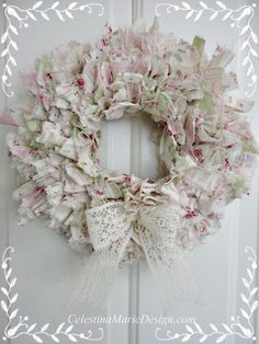white shabby romantic pinterest | Shabby Rag Wreath, Hand Created, 11 inch Round, Wall Art, Shabby ...