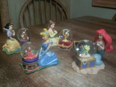 Disney Snow Globe Lot  Cinderella, Little Mermaid, Snow White, Beauty and the Be