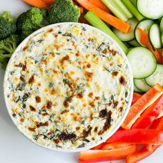 This healthy version of Spinach Artichoke Dip is so warm and melty. Perfect for a party served with pita chips or fresh veggies.