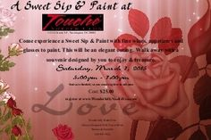 Event at Touche - 1123 H St, NE, Wasington,DC on Sat, March 7 at 5PM-6PM $25 includes 2 wine glasses to paint, appetizer, and 1 drink.  Register at www.wonderfullymade4you.com