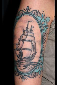 ship in a pretty blue frame #arm #shoulder #tattoos