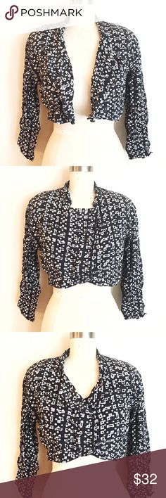 Crop Black Gray White Abstract Print Jacket! Light weight jacket. Perfect for days where you want something light over your lace top or camisole. 100% rayon, has easy to remove shoulder pads, can wear as a short. All buttons in tact. Fits a large. Vintage piece in great condition! Urban Outfitters Tops
