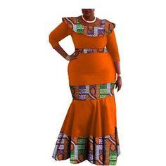 Image of Elegant African print mermaid dress designs three quarter sleeve O-neck ankle-length trumpet women cotton dress African Fashion Ankara, Latest African Fashion Dresses, African Dresses For Women, African Print Fashion, African Attire, African Wear, Animal Print Dresses, Dress Designs, Quarter Sleeve