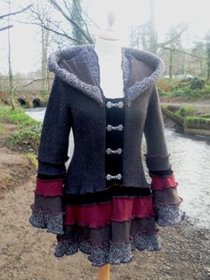 Bloodstone - custom Gypsy Vampire coat from recycled sweaters
