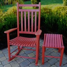 Adult Rocking Chair and Side Table in another color Outdoor Chairs, Outdoor Furniture, Outdoor Decor, Red Rocking Chair, Wood Joints, Back Deck, Hardwood, Dixie, Sienna