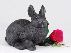 Black Rabbit Cremation Pet Urn for secure installation of your beloved pet's ashes indoors or outdoors * See this great product. (This is an affiliate link and I receive a commission for the sales) Pet Ashes, Pet Urns, Cat Memorial, Pet Accessories, All Black, Lion Sculpture, Statue, Pets, Outdoor Decor