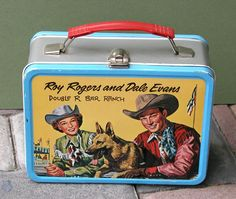 "Roy Rogers and Dale Evans Antique Lunch Box (Vintage 1957 Metal Canadian Lunchbox, ""Double R Bar Ranch"")"