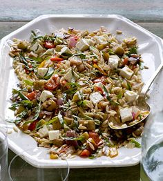 Orzo with Roasted Vegetables...this is THE salad y'all. Seems like a lot of work at first but well worth the effort. My go to dish for a potluck this fall. The recipe makes a ton so great for a big party or sharing with friends and family. When the veggies are roasting in the oven it smells like heaven...better than sweets.