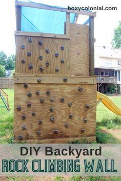 Backyard diy projects kids climbing wall ideas for 2019 Backyard Playground, Backyard For Kids, Backyard Projects, Diy Projects, Children Playground, Outdoor Projects, Playground Ideas, Diy Wand, Kids Climbing