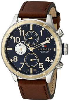 Tommy Hilfiger Men's 1791137 Cool Sport Two-Tone Stainless Steel Watch with Faux-Leather Band | 46mm case | $175.00 retail