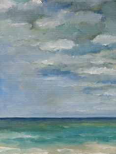 "Green Sea Blue Skies - Original Seascape Oil Painting - 8"" x 10"" Teal Blue Clouds Beach Water Ocean Sand Waves Surf"