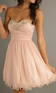 pale peach dress, light peac... from sposadress on Wanelo