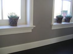 Lichtgrijze muren bij hoogglans witte kozijnen en donkere vloer is nice