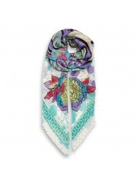Mahé's Dreams Light Green Shawl Cashmere Wool, Cashmere Scarf, Animal Print Scarf, Wool Scarf, Silk Scarves, Classic Style, Shawl, Floral Prints, Dreams